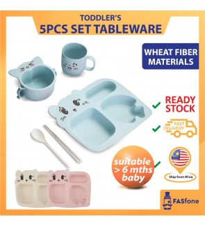 (5IN1 Ready stocks in Malaysia) Kids Tableware Baby Tableware Children Wheat Straw Meal Plate