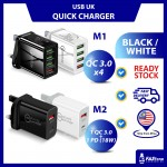 (Ready Stock) Phone Tablet Type C UK Plug Charger Port Quick Charge 4 USB PD18W QC3.0