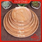 Round Solid Wood Food Plate Serving Tray Natural Texture Rubber Tree Wood Picnic Photoshooting Instagrammable