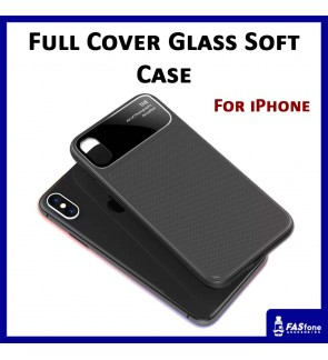 Fashion Full Cover Glass Soft Case for iPhone 7 8 Plus X Xs