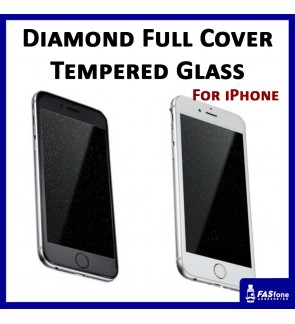 Diamond Apple iPhone 6 6s 7 8 Plus Full Cover Carbon Fiber Tempered Glass