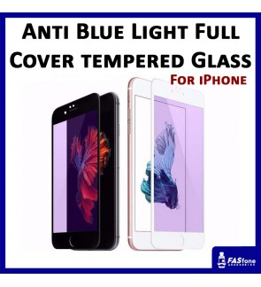 iPhone 6 6S 7 8 Plus X Xs Anti Blue Light Ray Purple Full Cover Tempered Glass