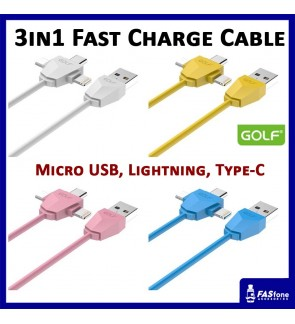 Golf Diamond Quick Charging Cable (3 in 1) Apple Lightning Micro Usb Type C