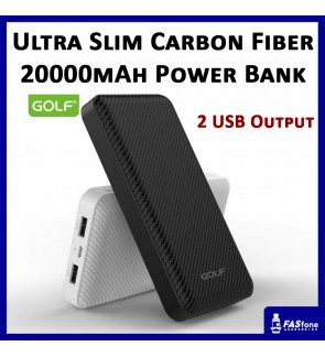 Golf Ultra Slim Power Bank Carbon Fiber Surface Full Capacity 20000 MAH G40