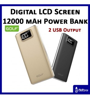 GOLF Digital LCD VIEW 12000 Mah Powerbank Full Capacity Dual input Output