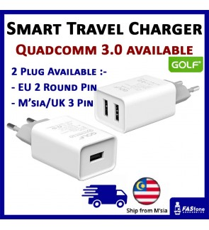 Ori GOLF Dual 2 USB Output Port USB Fast Charger EU Round Pin Plug U206 2.1A Quadcomm 3.0 Malaysia / UK 3 Pin Plug