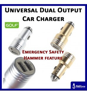 GOLF Universal Car Charger Dual USB 3.1A Bullet Emergency Safety Hammer GF-C06