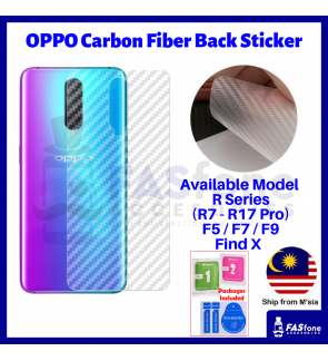 Oppo RENO 10X ZOOM R7 R7s R9 R9s Plus R15 R17 Pro F5 F7 F9 Find X Carbon Fiber Back Sticker