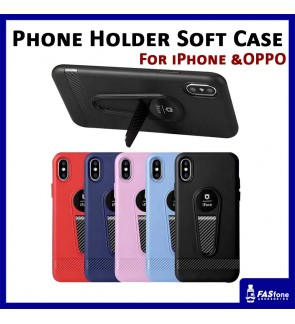 iPhone 5 5s SE 6 6s 7 8 Plus X Oppo F5 Phone Holder Stand Mic Soft Case