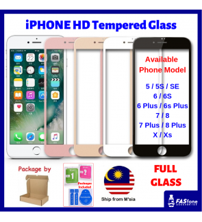 Full Cover Tempered Glass for iPhone 5 5S SE 6 6S 7 8 Plus X Xs MAX XR
