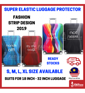 (M'sia R.Stocks) Luggage Protector Elastic Luggage Cover Luggage Suitcase STRIPE