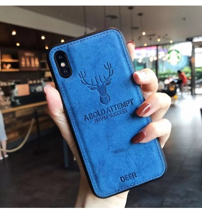 iPhone 6 6s 7 8 Plus X Xs XR Max Shockproof Cloth Back Case Deer
