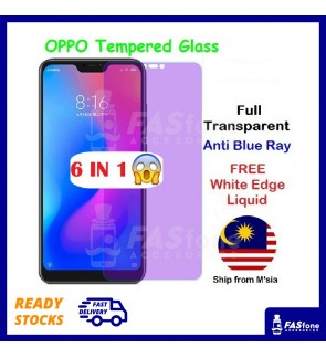 OPPO A1K A3 A3S A5S A7 A83 A77 A57 A59 F1s A37 A39 Full Cover Clear Matte Tempered Glass Purple Ray