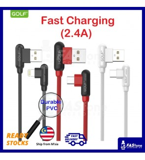 Golf 90 Degree PVC Fast Charge Micro Usb Apple Lightning Type C Usb Cable