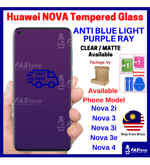 HUAWEI NOVA 7I 5T 2I 3E 3 3I 4 Full Purple Light Tempered Glass HD Clear Matte