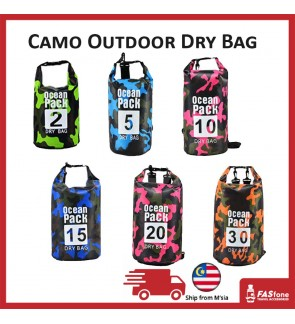 (Ready Stocks) Camo Dry Bag Storage Bag Waterproof Outdoor Mobile Backpack 5L 10L 15L 20L 30L