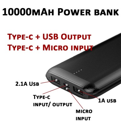 2 USB + TYPE C Original Golf Power Bank 10000 mAh Power Bank Slim Power Bank