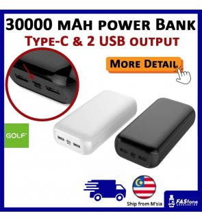 Golf Original G55 30000 mAh 2.1A Fast Charging 3 Output Type C Output Power Bank Type-C Micro USB Input