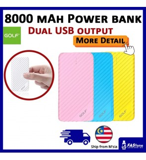 Golf G17 8000 mAh Power Bank Dual 2 USB Output Port Colorful Design Micro USB Input