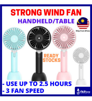 (M'sia Ready Stocks) Handheld Fan Table Fan Usb Fan Rechargeable Fan High Speed Fan Strong Wind Fan