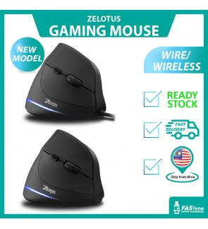 (READY STOCKS) ZELOTES Gaming Mouse Wireless Mouse Vertical Mouse Portable Ergonomic 2.4G