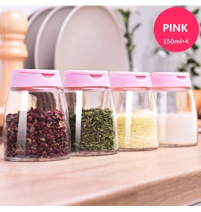 (Malaysia Ready Stocks) Spice Container Spice Bottle Kitchen Glass Lid Organizer 4 in 1