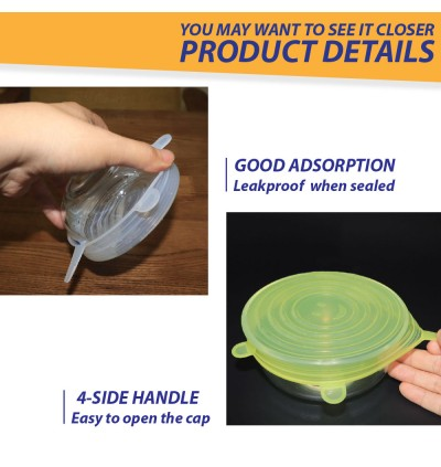 Food Silicone Wrap Film Bowl 6 in 1 Airtight Reuseable Multi function Seal Cover Fresh Food