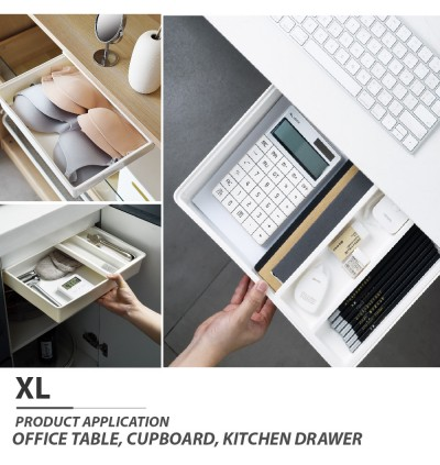 Storage Drawer Desk Cupboard Office Table Plastic Cutlery Tray Expandable Space Saver Free Punch Hole Invisible Rack