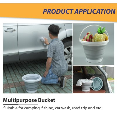 Car Camping Fishing Outdoor Silicone Plastic Portable Bucket Foldable Bucket Car Children Travel Multipurpose Water Pail