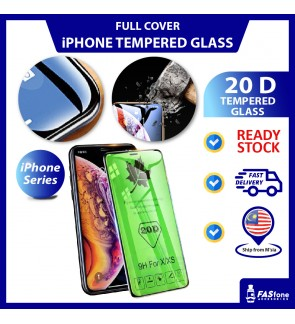 (Ready Stocks) 20D iPhone 12 Mini 12 Pro Max 11 Pro Max SE2 6 6s 7 8 Plus X Xs Max XR Full Round Edge Tempered Glass