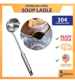 (ReadyStocks@Malaysia) 304 Stainless Steel Soup Spoon Soup Ladle Filter Grease BIG 35cm