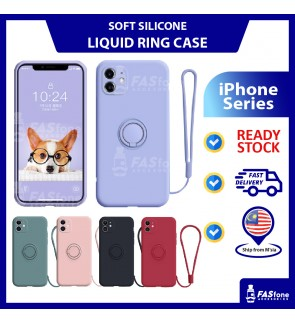 (FREE LANYARD) iPhone 11 Pro Max XS MAX XR Xs X 6 6s 7 8 Plus Liquid Silicone Ring Holder Back Case Back Cover