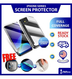 (Ready Stock) iPhone 6 6 Plus 7Plus 8 Plus X Xs Max 11 Pro Max Hydrogel Full Coverage Screen Protector 2 In 1 Front Back