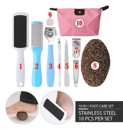 (Ready stocks in Malaysia) 10 in 1 Pedicure Set Foot Care Set Feet Care Foot Rub Foot Rasp Manicure Hand Care