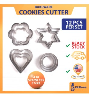 (Ready Stock in Malaysia) Cookies Mold 12PCS Per Set Stainless Steel Cupcake Biscuits Mould Flower Love Star Round